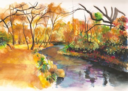 铅笔淡彩风景画步骤