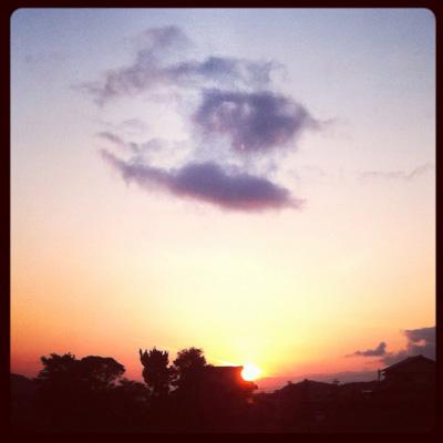 糸島の夕日(街に近づく)