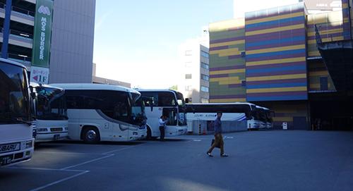 キャナルシティのバス駐車場